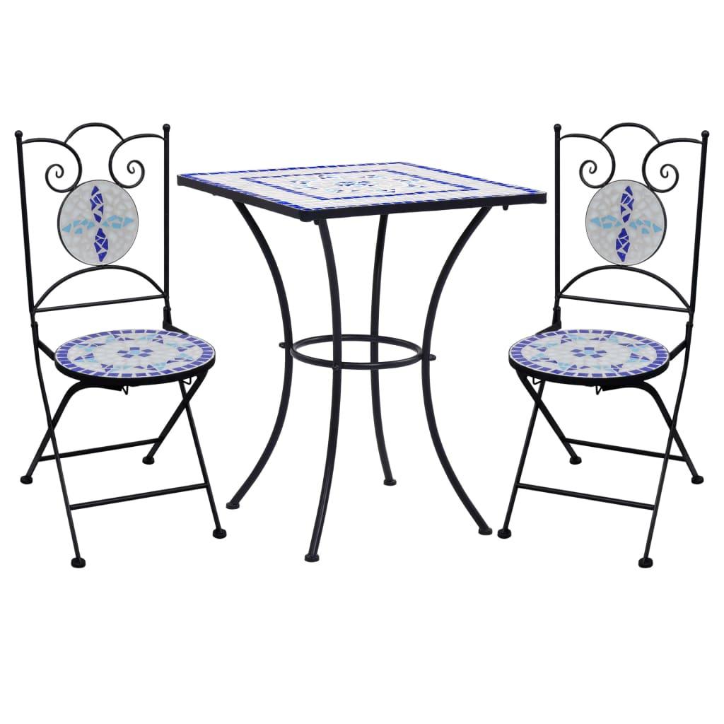 Table carrée + 2 chaises pliables Bibiana Céramique Multicolore