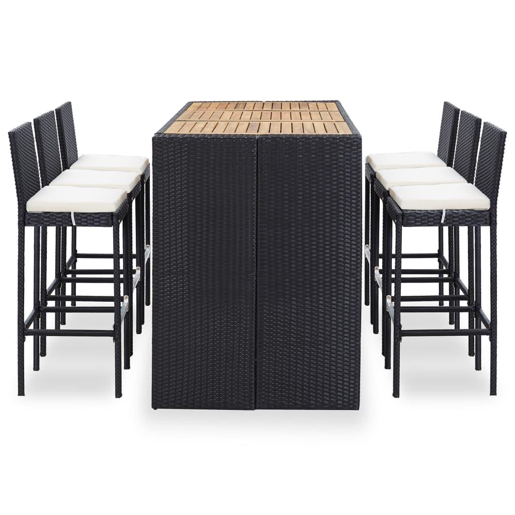 Table de bar + 6 chaises de bar Meuse Résine tressée Noir