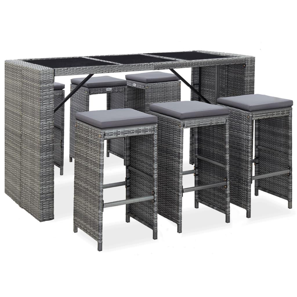 Table de bar + 6 chaises de bar Moselle Résine tressée Gris