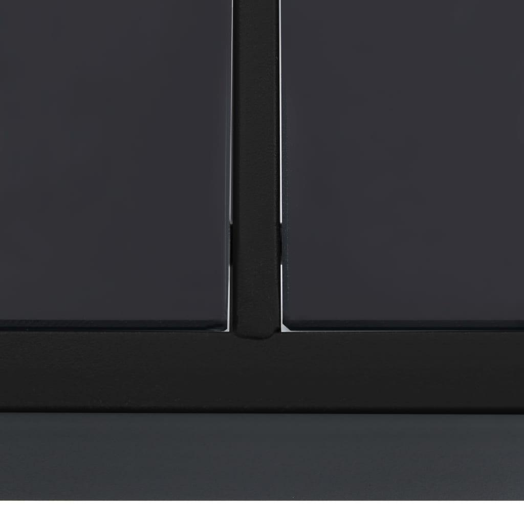 Table de jardin Acajou 190X90cm en métal et Verre noir
