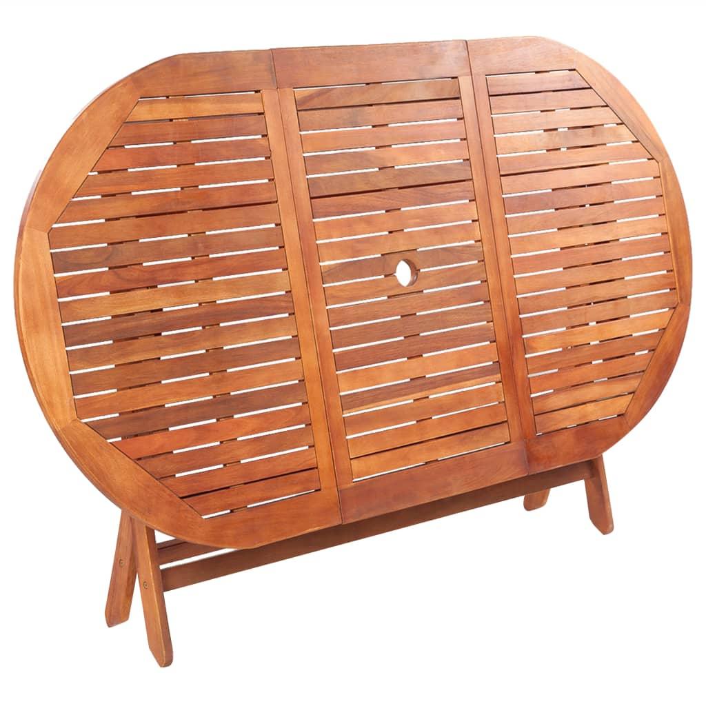 Table de jardin pliable Pulmonaire en Bois Massif 160x85cm Marron