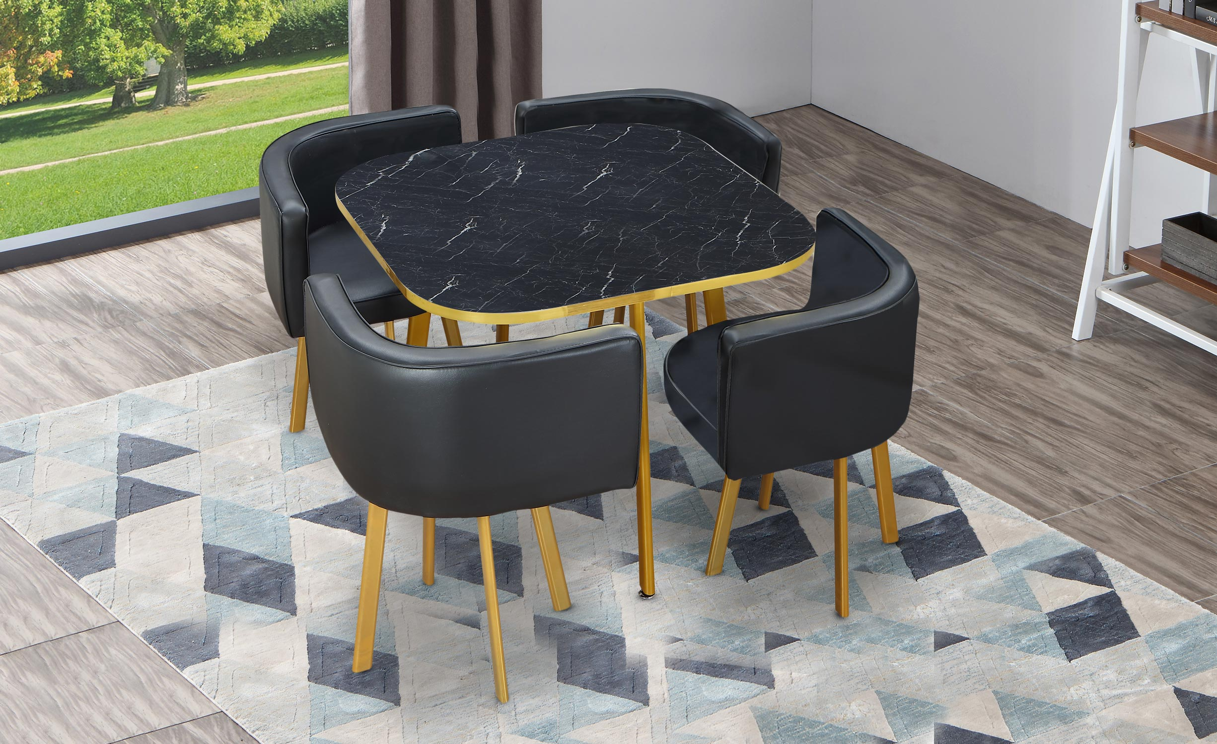 Table et chaises Oslo Or Effet Marbre et Simili Noir