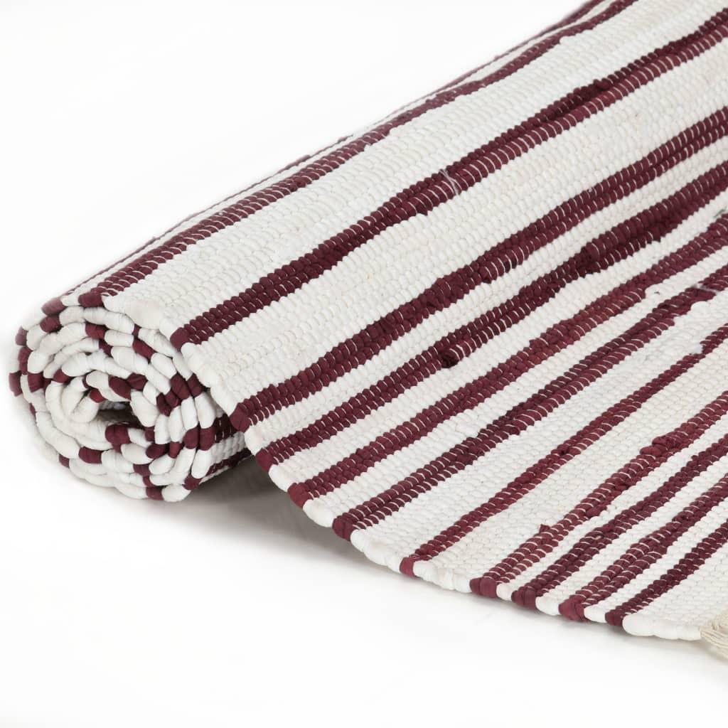 Tapis Chindi tissé à la main Coton 160x230cm Blanc rayé bordeaux