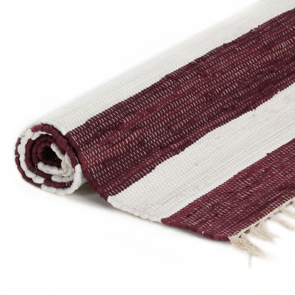 Tapis Chindi tissé à la main Coton 160x230cm Bordeaux et blanc