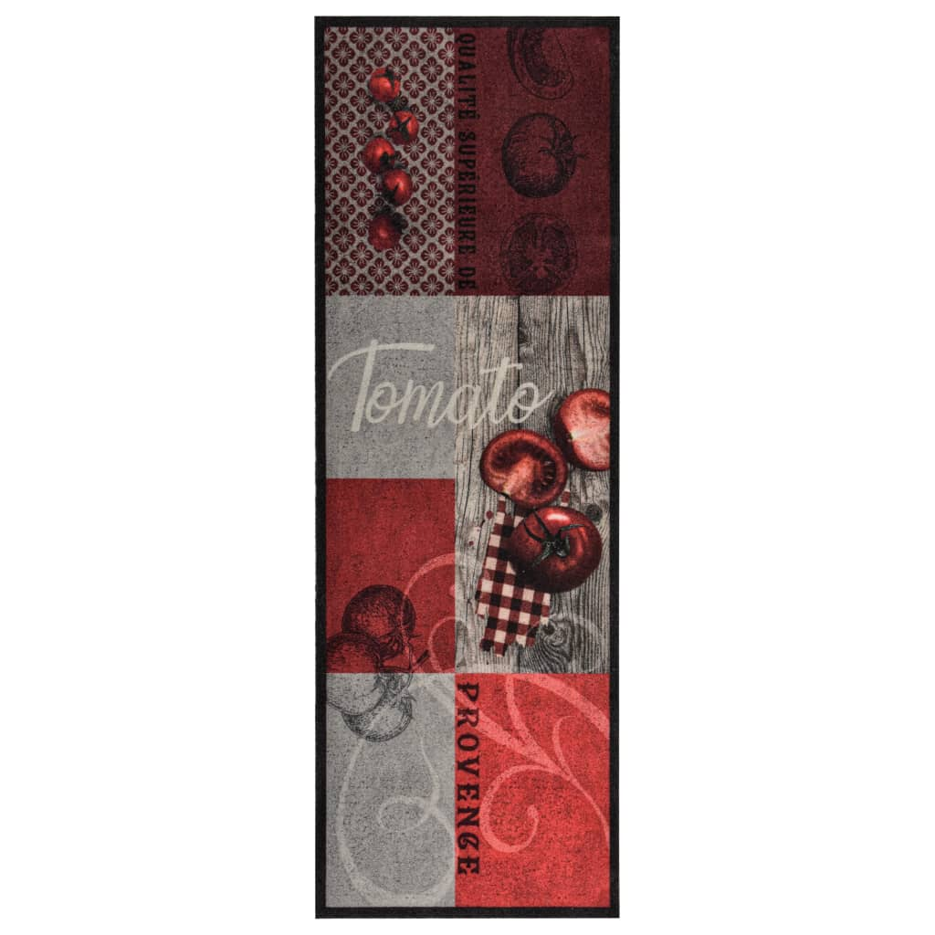 Tapis de cuisine Tomato 60x300cm Tissu Rouge et Gris