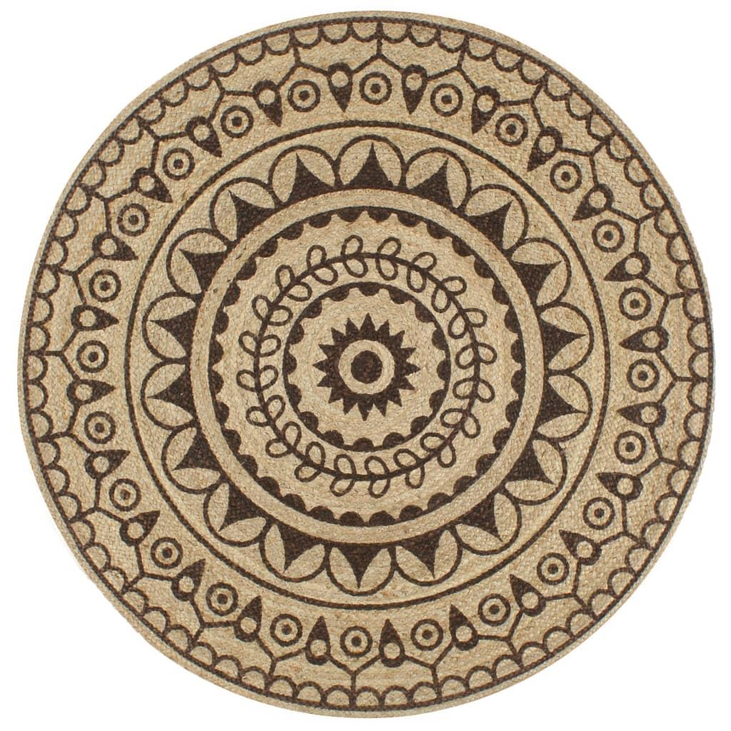 Tapis jute Ashanti avec imprimé Marron D150cm
