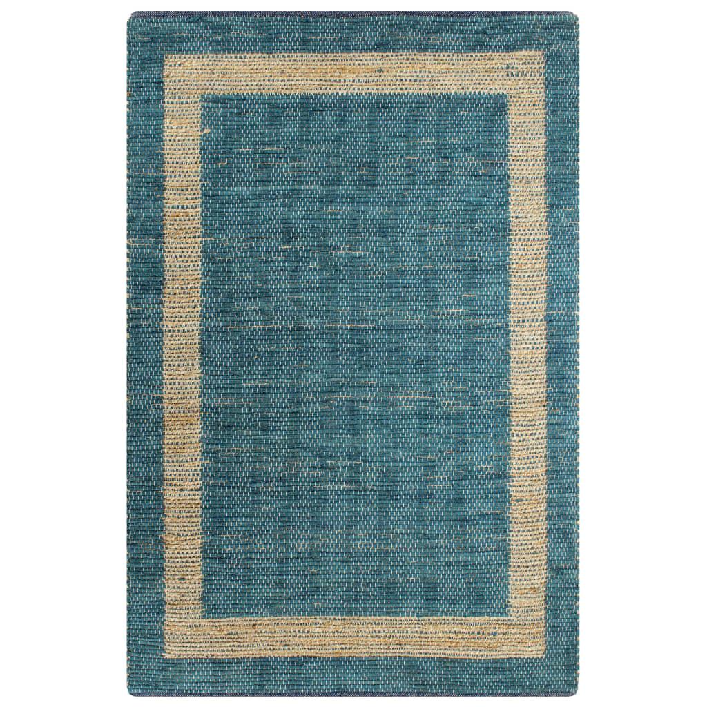 Tapis jute Togo 80x160cm Coton Bleu et Beige