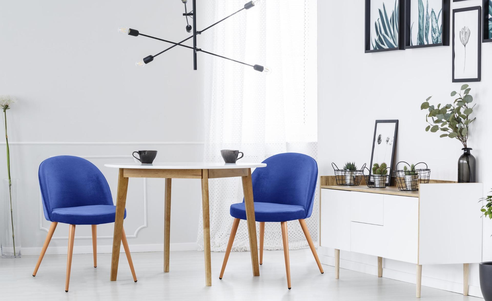 Lot de 4 chaises scandinaves Tartan velours Bleu