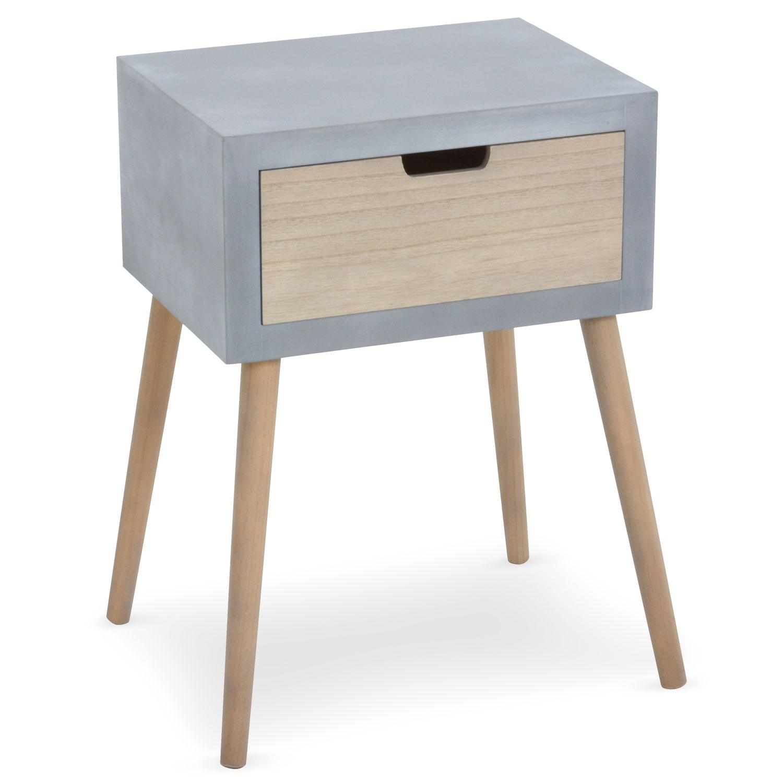 Table de chevet scandinave Tatum, munie d'un tiroir, coloris bois et gris