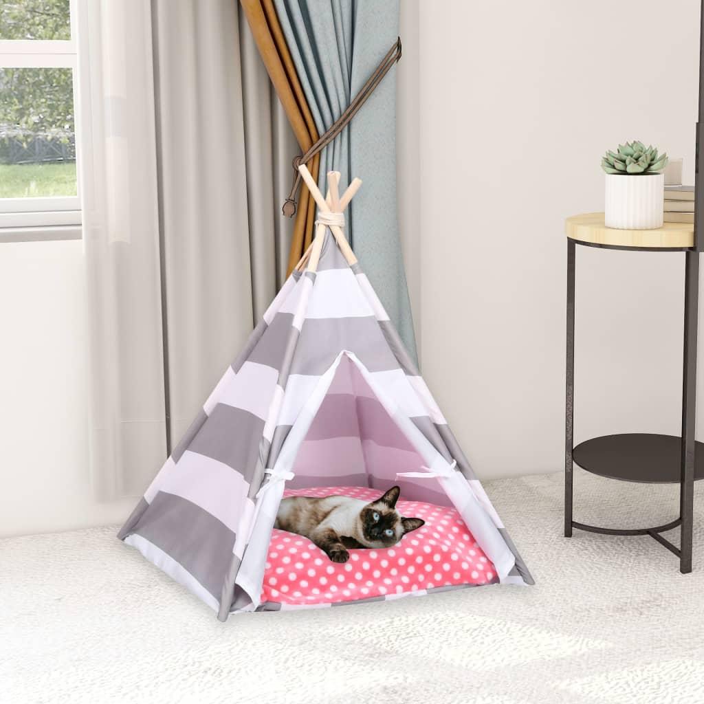 Tente pour chats avec sac imprimé Chipie 60x70cm Gris et Blanc