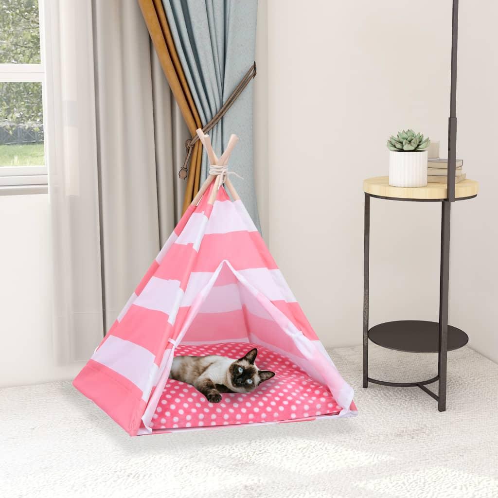 Tente pour chats avec sac imprimé Chipie 60x70cm Rose et Blanc
