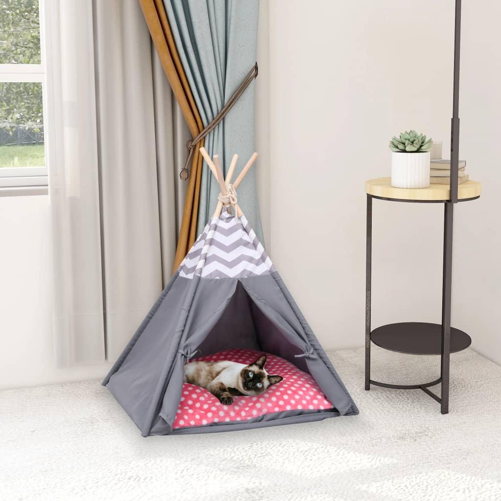 Tente pour chats avec sacChipie 60x70cm Gris et Blanc