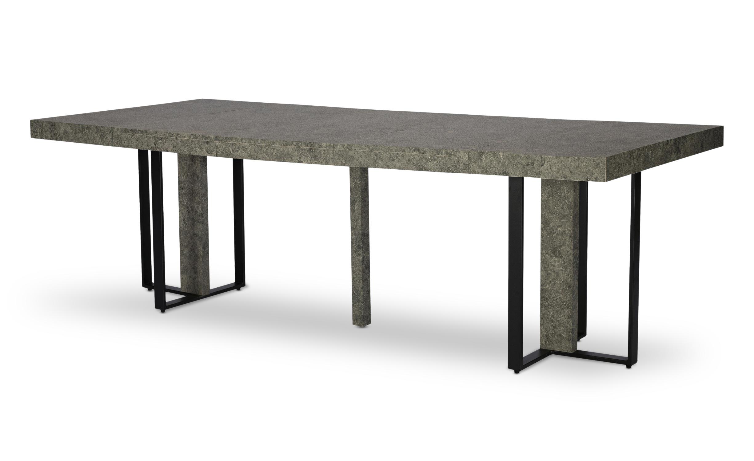 Table extensible Teresa Effet Béton pieds Noir