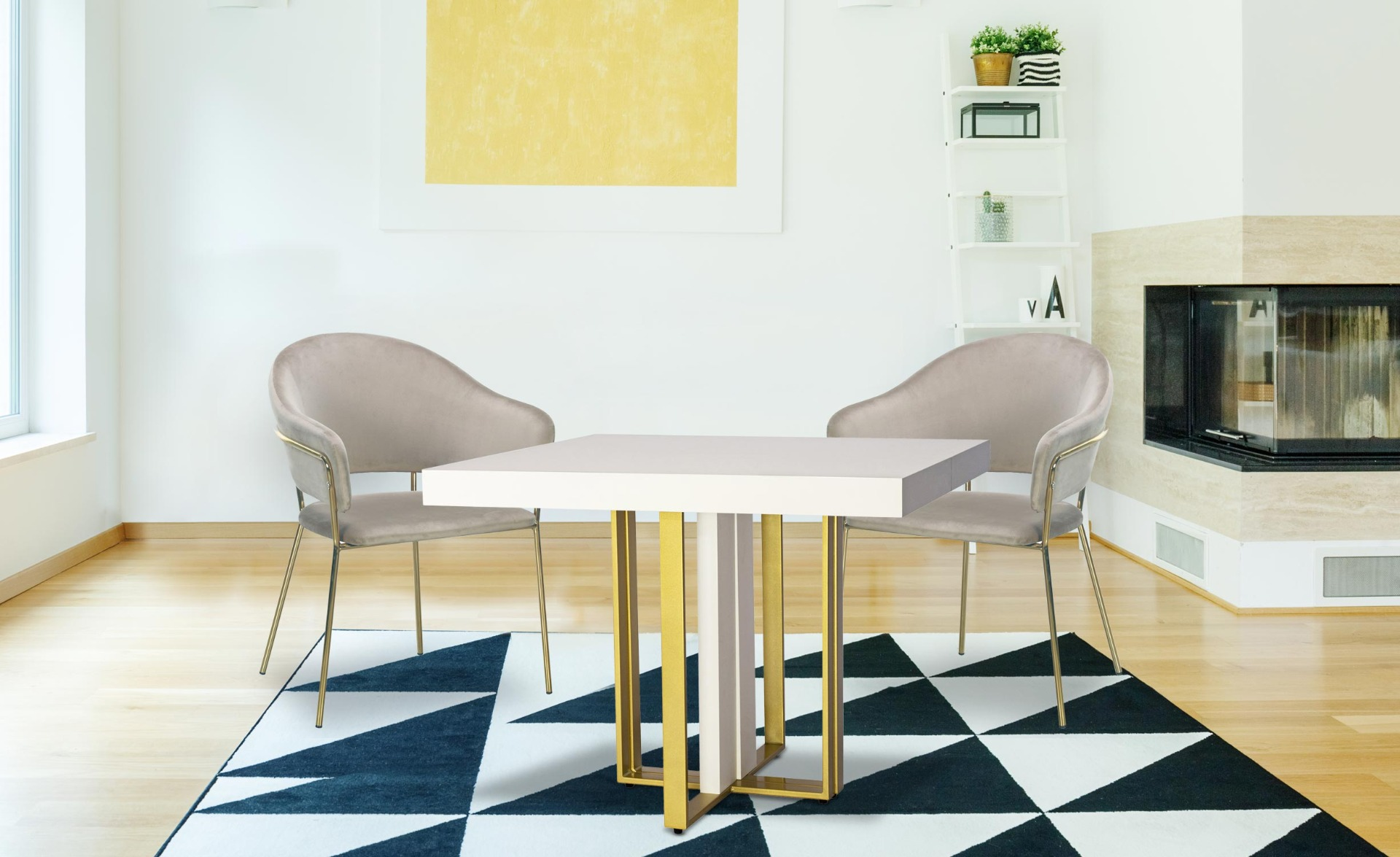 Table extensible Teresa Gold Blanc pieds Or