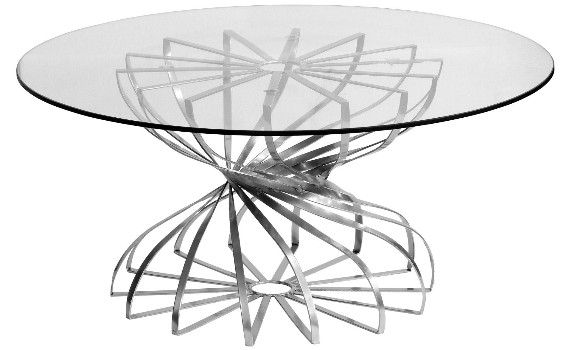 Table Basse ronde Tornado Nickel et Verre transparent