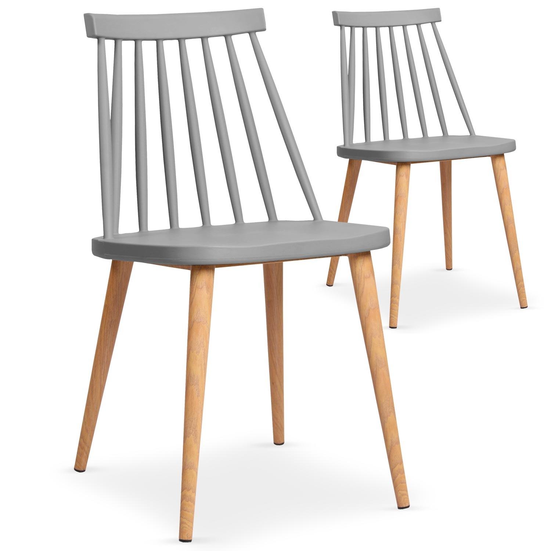 Lot de 2 chaises scandinaves Trouville Gris