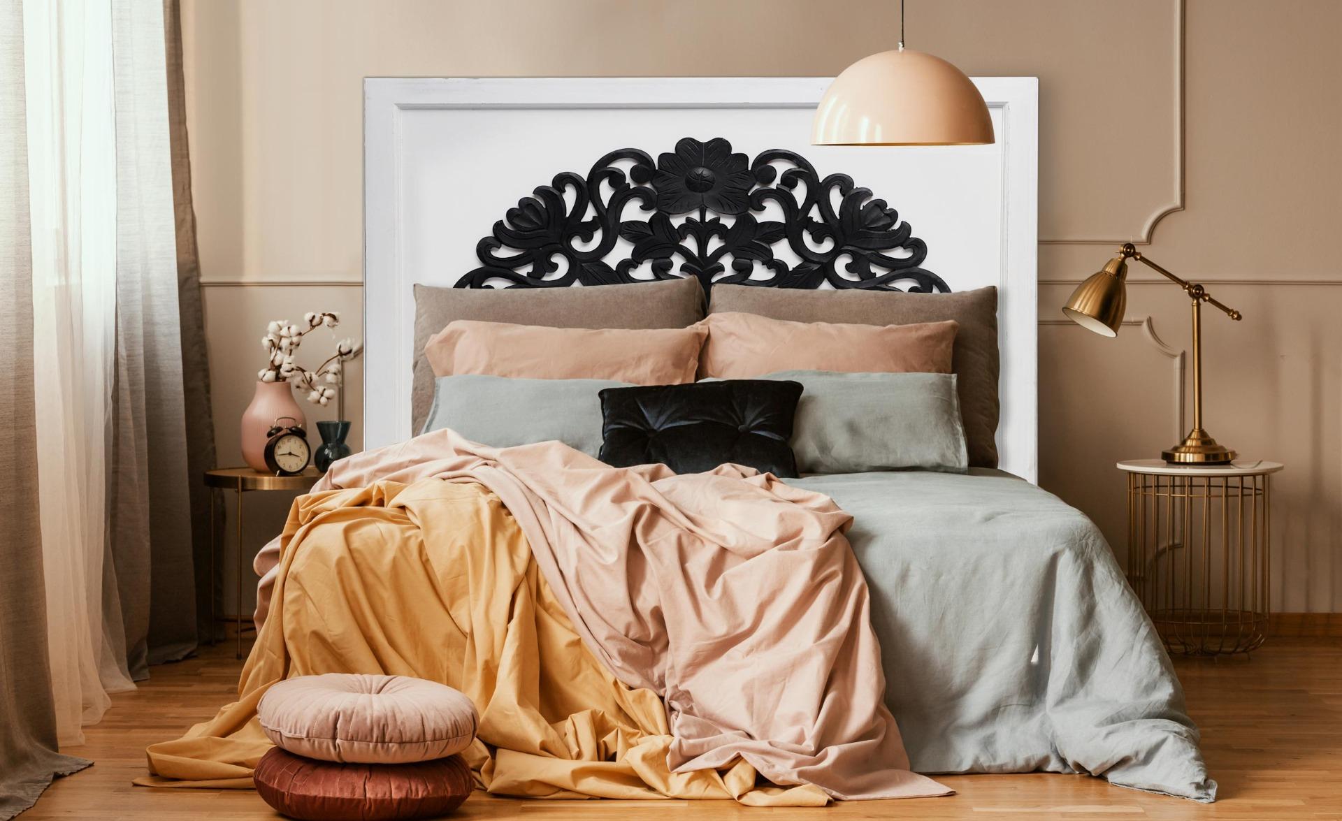 Tête de lit Venezia 160cm Bois Blanc et Noir