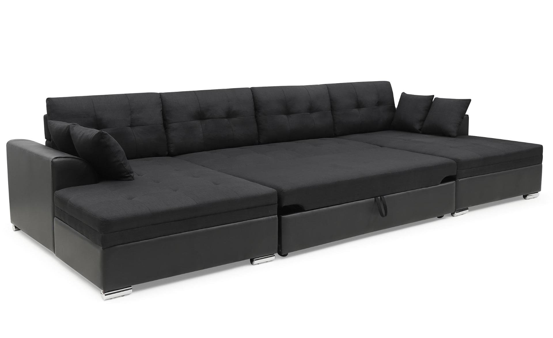 Canapé d'angle convertible Vento Simili Noir et Tissu Noir