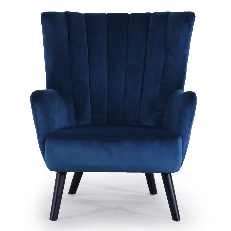Fauteuil scandinave Vidal en Velours Bleu