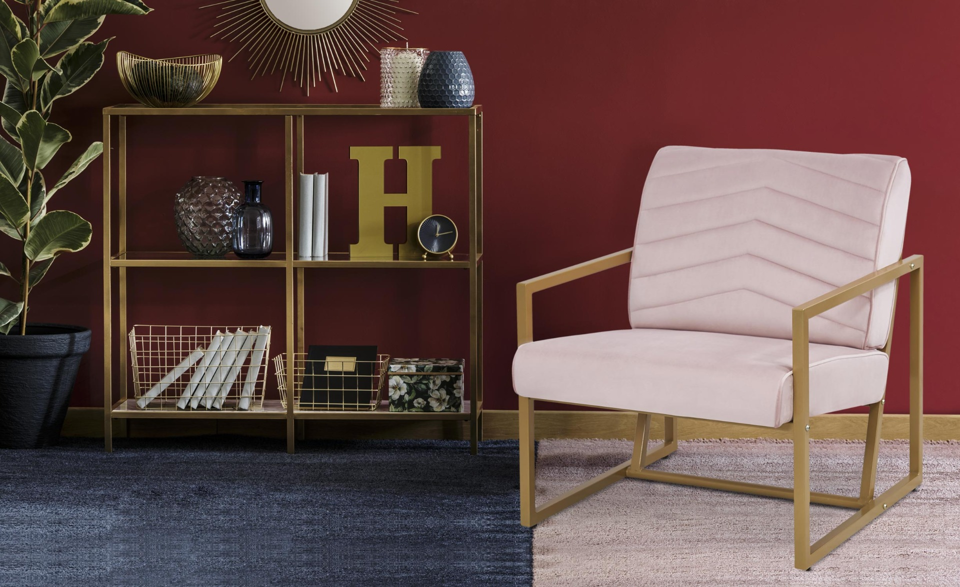 Fauteuil Vidor Velours Rose pieds Or