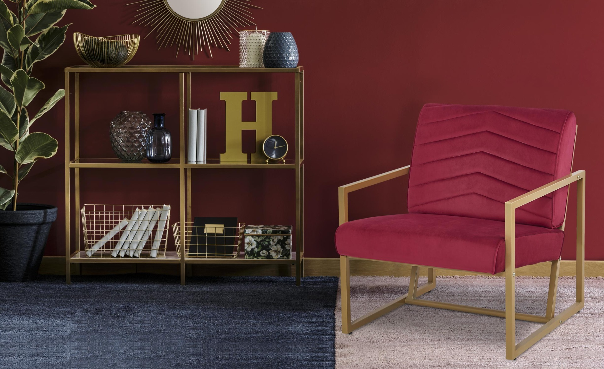 Fauteuil Vidor Velours Rouge pieds Or
