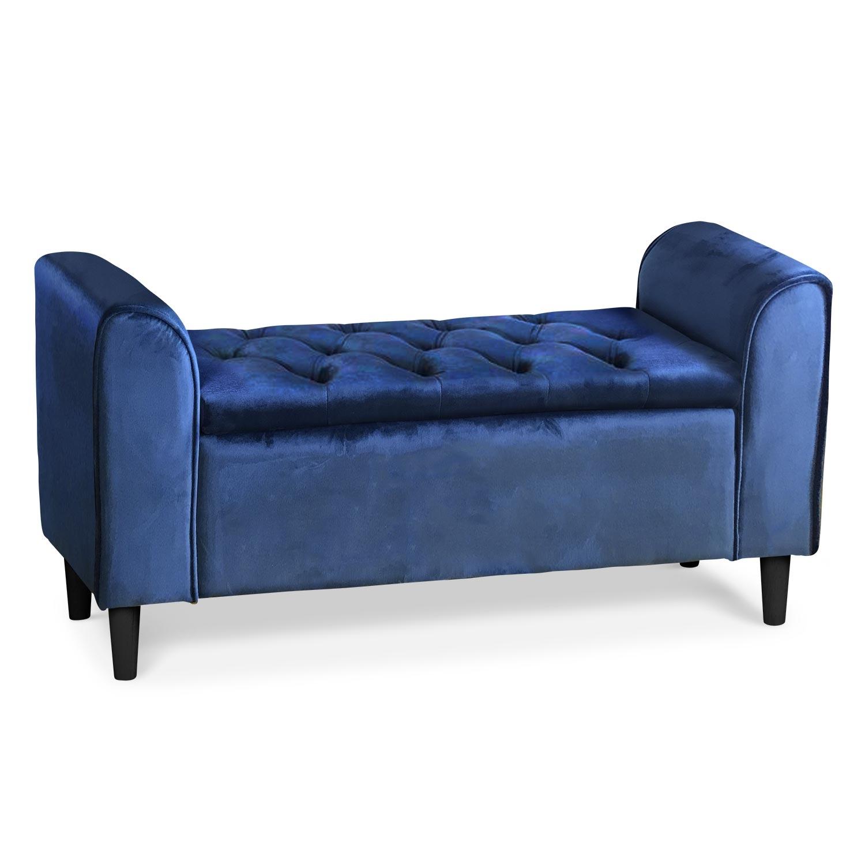 Banquette-coffre Winnie Velours Bleu