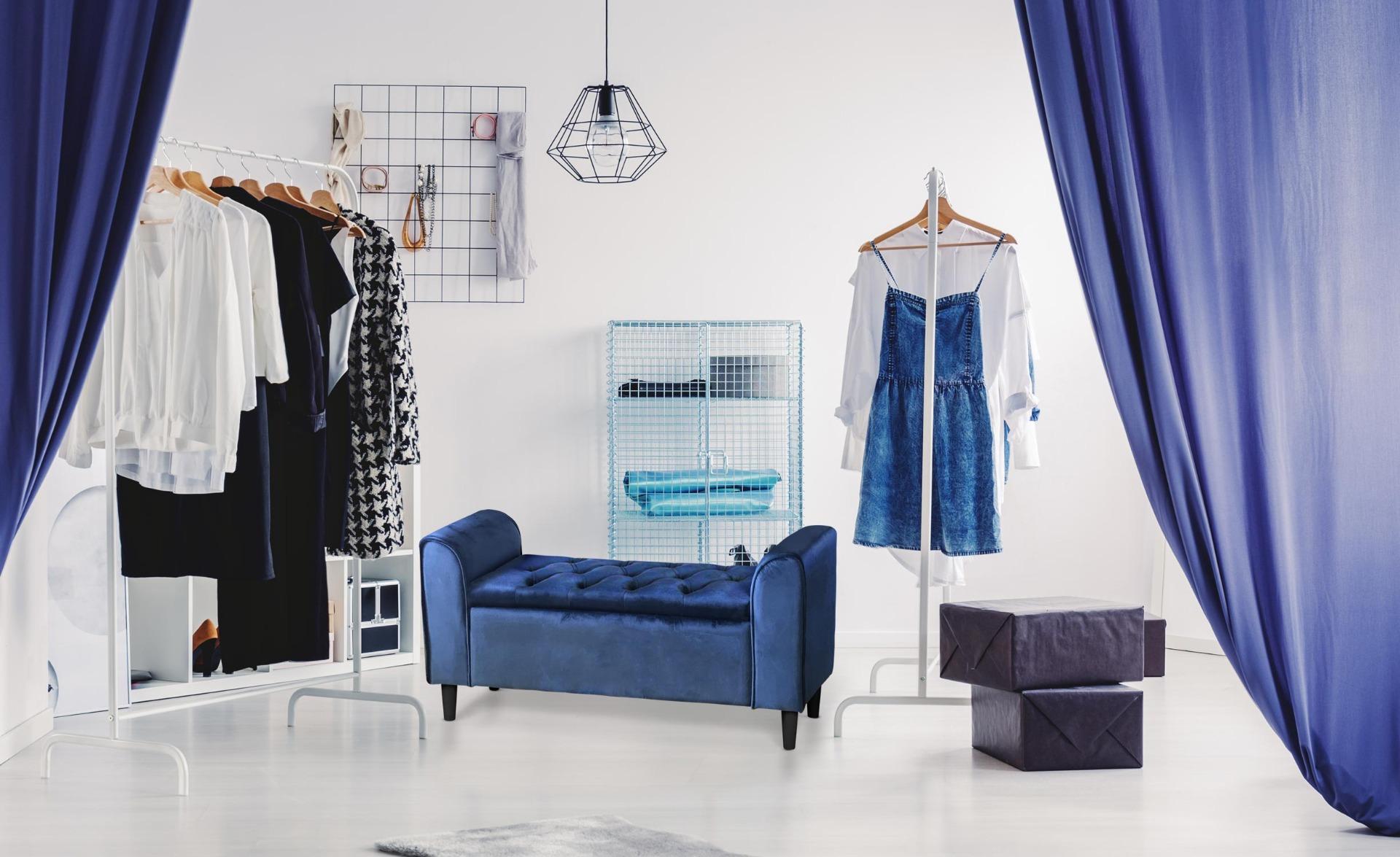 Banc coffre Winnie Velours Bleu